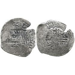 Potosi, Bolivia, cob 8 reales, (16)51E, with crown-alone countermark on shield.