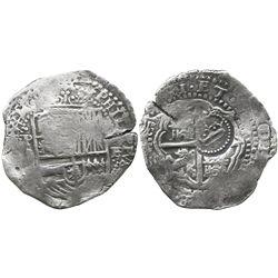 Potosi, Bolivia, cob 8 reales, (165)1E, with rare crown-alone countermark on cross.