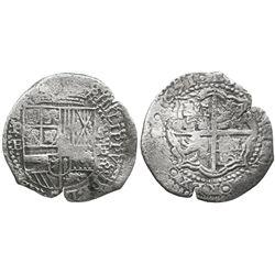 Potosi, Bolivia, cob 8 reales, 1651E, with unidentified countermark on cross.