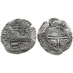 Potosi, Bolivia, cob 8 reales, 1652E (very rare final date for shield-type), with crowned-.F. counte