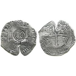 Potosi, Bolivia, cob 8 reales, (1651-2)E, with crowned-.T. countermark on shield.