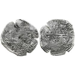 Potosi, Bolivia, cob 8 reales, (1651-2)E, with 2 countermarks (rare): crowned-L on cross and crowned