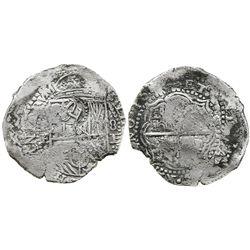 Potosi, Bolivia, cob 8 reales, 165(1-2)E, with crowned-L countermark on SHIELD (very rare).