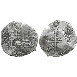 Potosi, Bolivia, cob 8 reales, (1651-2)E, with crowned-O countermark on shield.