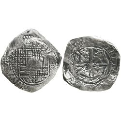 Potosi, Bolivia, cob 8 reales, (1651-2)E, with crowned-? countermark on cross.