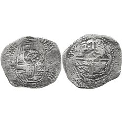 Potosi, Bolivia, cob 8 reales, 16(51-2)E, with crowned-.F. countermark on shield.
