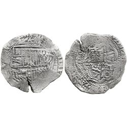 Potosi, Bolivia, cob 8 reales, 165(?)(O or E), with crowned-O countermark on cross.