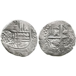 Potosi, Bolivia, cob 4 reales, Philip IV, assayer not visible (ca. 1646), with crowned dot-F-dot cou