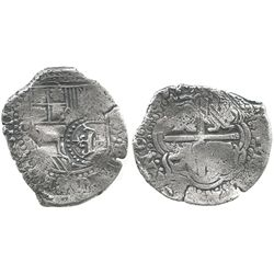 Potosi, Bolivia, cob 4 reales, 1650O, with crowned-L countermark on SHIELD (very rare).