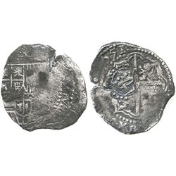 Potosi, Bolivia, cob 4 reales, (1)651(O or E), with crowned-L countermark on cross.