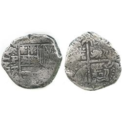 Potosi, Bolivia, cob 2 reales, Philip IV, assayer T.