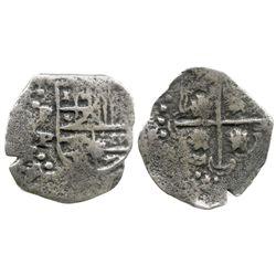 Potosi, Bolivia, cob 2 reales, Philip IV, assayer P/T (1646-7), very rare.