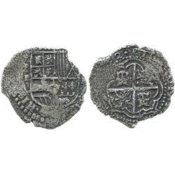 Potosi, Bolivia, cob 2 reales, (16)52E, very rare final year of shield-type.
