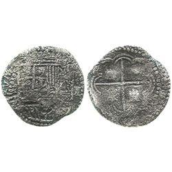 Potosi, Bolivia, cob 1 real, Philip II, assayer B (3rd period?).
