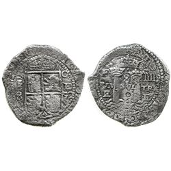 Potosi, Bolivia, cob 8 reales, 1652E transitional Type III/A.