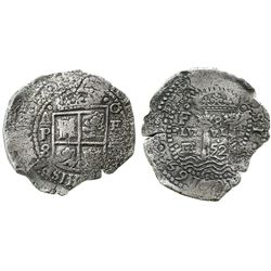 Potosi, Bolivia, cob 8 reales, 1652E transitional Type V/A but with motto as PLVS-VL-(TRA), unique.