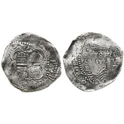 Potosi, Bolivia, cob 8 reales, 1652E transitional Type V/B.