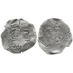 Potosi, Bolivia, cob 8 reales, 1652E transitional Type VII/B, rare (unlisted in Janson).