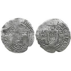 Potosi, Bolivia, cob 8 reales, 1652E transitional Type VIII/A.