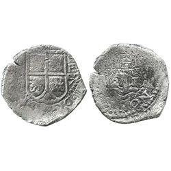 Potosi, Bolivia, cob 2 reales, 1652E transitional, McLean Type I.