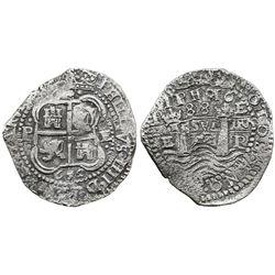 Potosi, Bolivia, cob 8 reales, 1652E post-transitional (Type VIII/B), 1-PH-6 at top, rare error with