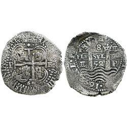 Potosi, Bolivia, cob 8 reales, 1652E, dot-PH-dot at top.