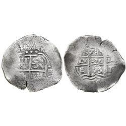 Potosi, Bolivia, cob 8 reales, 1653E, dot-P(H-dot) at top.