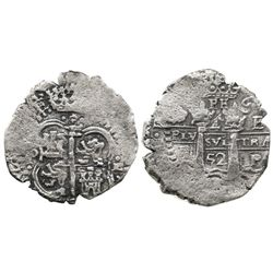 Potosi, Bolivia, cob 4 reales, 1652E (post-transitional), (1)-PH-6 at top with P punched over H, rar