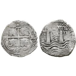 Potosi, Bolivia, cob 4 reales, 1653/2E, (1-PH)-6 at top, rare.