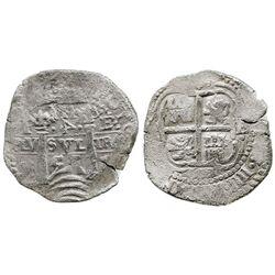 Potosi, Bolivia, cob 4 reales, 1653E, PH at top, rotated-4 denomination.