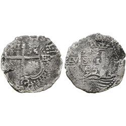 Potosi, Bolivia, cob 4 reales, 1653E, (dot-P)H-(dot) at top, rotated-4 denomination.