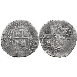 Potosi, Bolivia, cob 4 reales, 1654E, dot-PH-dot at top.