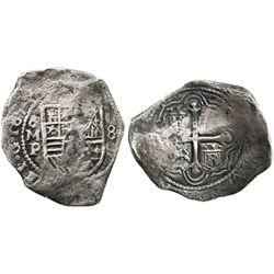 Mexico City, Mexico, cob 8 reales, 1654P.