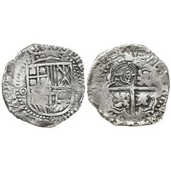 Potosi, Bolivia, cob 8 reales, 165(0-1)O, with crowned-L countermark on cross.