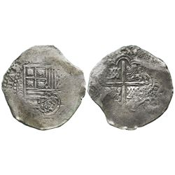 Potosi, Bolivia, cob 8 reales, (1650-1)O, with crowned-.F. countermark on shield.