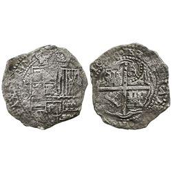 Potosi, Bolivia, cob 8 reales, 16(51)O, with crowned-O countermark on cross.