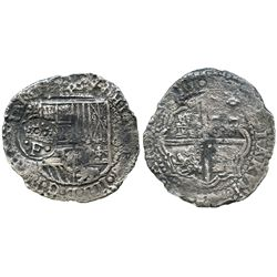Potosi, Bolivia, cob 8 reales, (165)1O, with crowned-.F. countermark on shield.