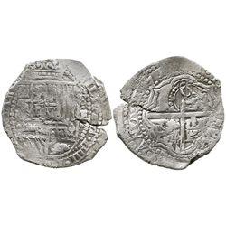 Potosi, Bolivia, cob 8 reales, (1)651E, with crowned-O countermark on cross.