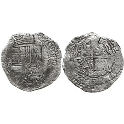 Potosi, Bolivia, cob 8 reales, 165(1-2)E, with crowned-L countermark on cross.