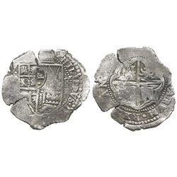 Potosi, Bolivia, cob 8 reales, (1651-2)E, with crowned-.F. countermark on shield.
