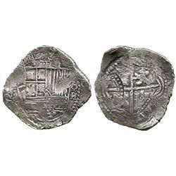 Potosi, Bolivia, cob 8 reales, (1651-2)E, with arms countermark on cross.
