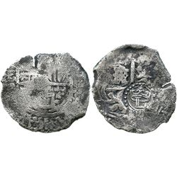 Potosi, Bolivia, cob 4 reales, (1649)O, with crowned-L countermark on cross.