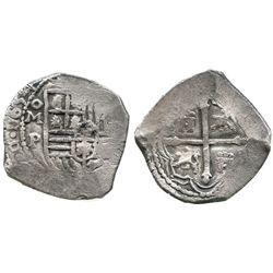 Mexico City, Mexico, cob 4 reales, 1654P.