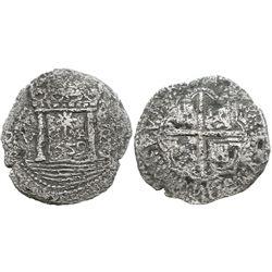 Lima, Peru, cob 8 reales,  Star of Lima,  1659V, rare.