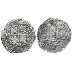Potosi, Bolivia, cob 8 reales, 1656E, dot-PH-dot at top.