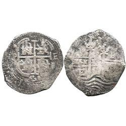 Potosi, Bolivia, cob 8 reales, 1658E, pomegranate above cross.