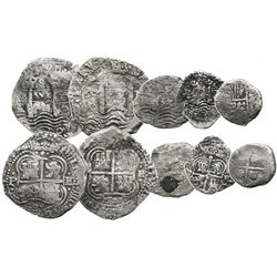 Lot of 5 Potosi, Bolivia, silver cobs of Philip IV: two 8R, one 4R and two 2R.