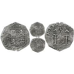 Bogota, Colombia, cob 4 reales, 1657, assayer P°R, very rare.