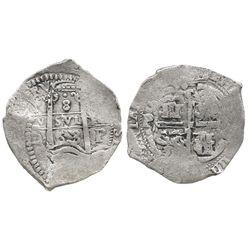Potosi, Bolivia, cob 8 reales, 1663E, rare.