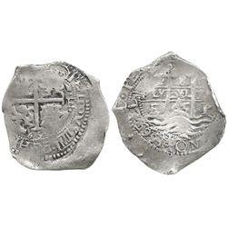 Potosi, Bolivia, cob 8 reales, 1665E, 3 full dates (rare thus).